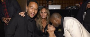 Kim and Kanye Celebrate John Legend's Birthday With a Kiss