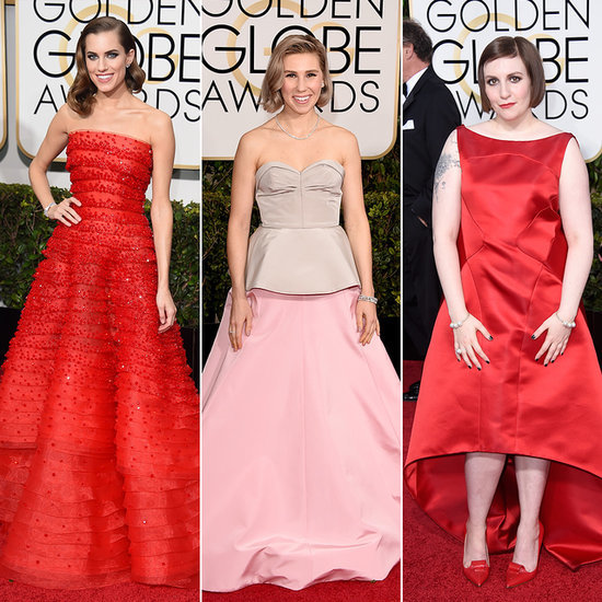Allison Williams and Lena Dunham Style at 2015 Golden Globes
