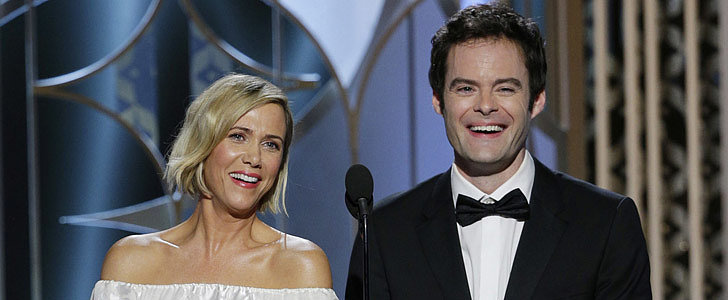Watch Kristen Wiig and Bill Hader Crack Themselves Up at the Golden Globes