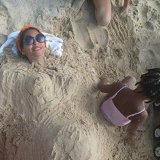 Beyonce's Baby Bump in the Sand Instagram