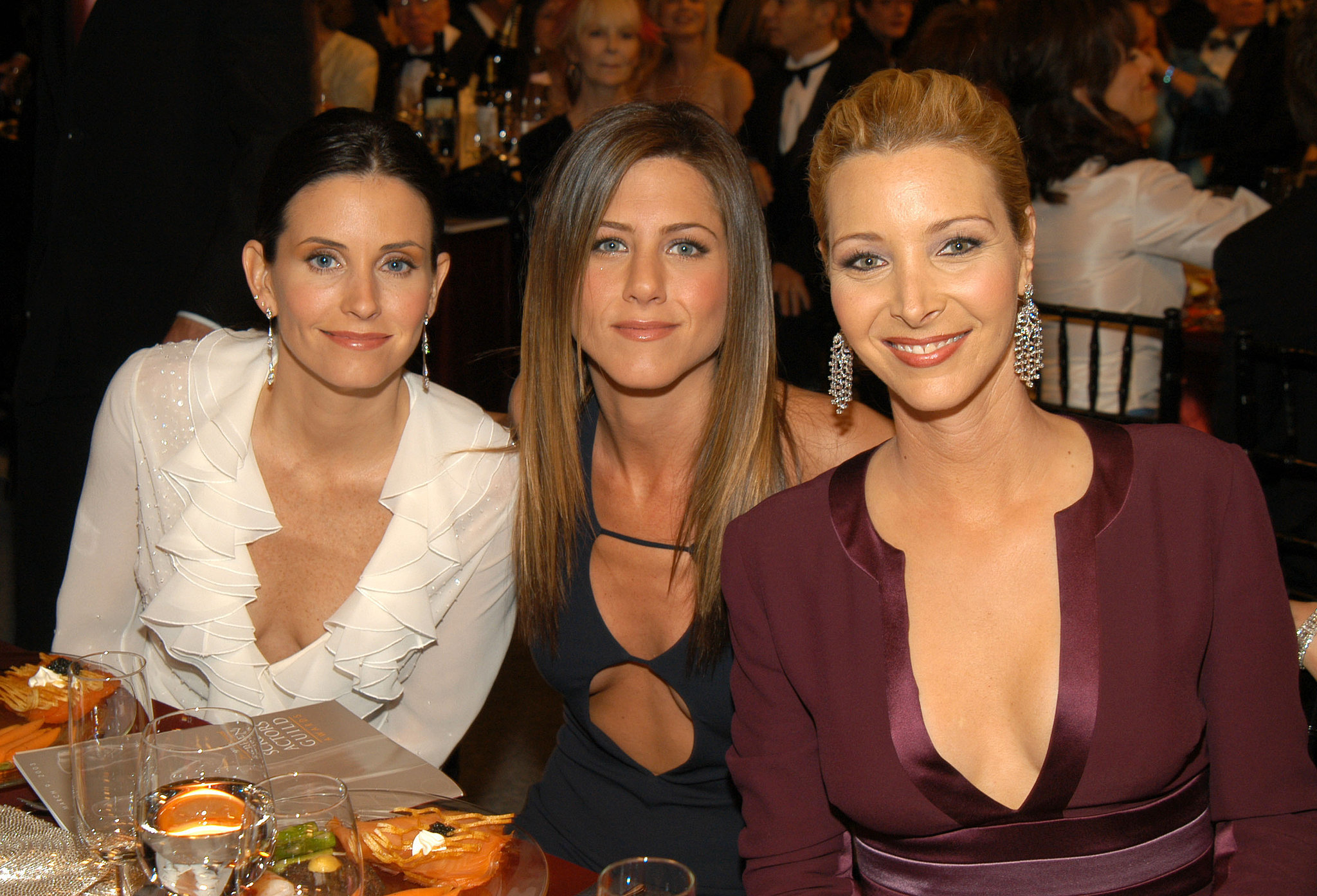 Courteney Cox, Jennifer Aniston, and Lisa Kudrow came out to support their series Friends in 2003.