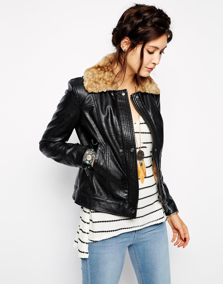 Free People Vegan Leather Jacket With Faux Lining and Collar | The