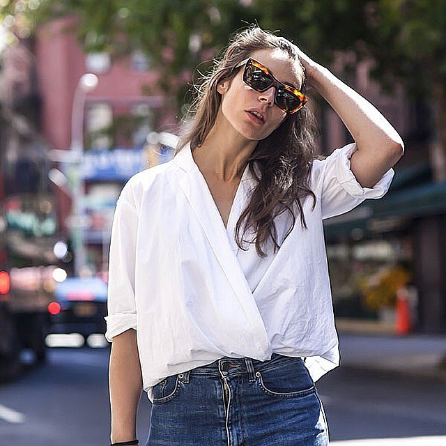 Wrap and tuck shirt trend popsugar fashion for Wrap style t shirts