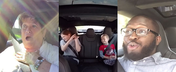 Watch Tesla Passengers Hold On For Dear Life in Insane Mode