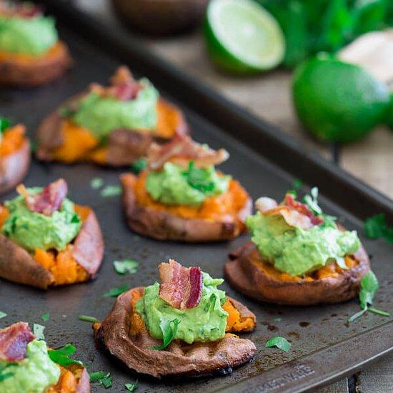 Smashed Sweet Potato Guacamole Bites Recipe