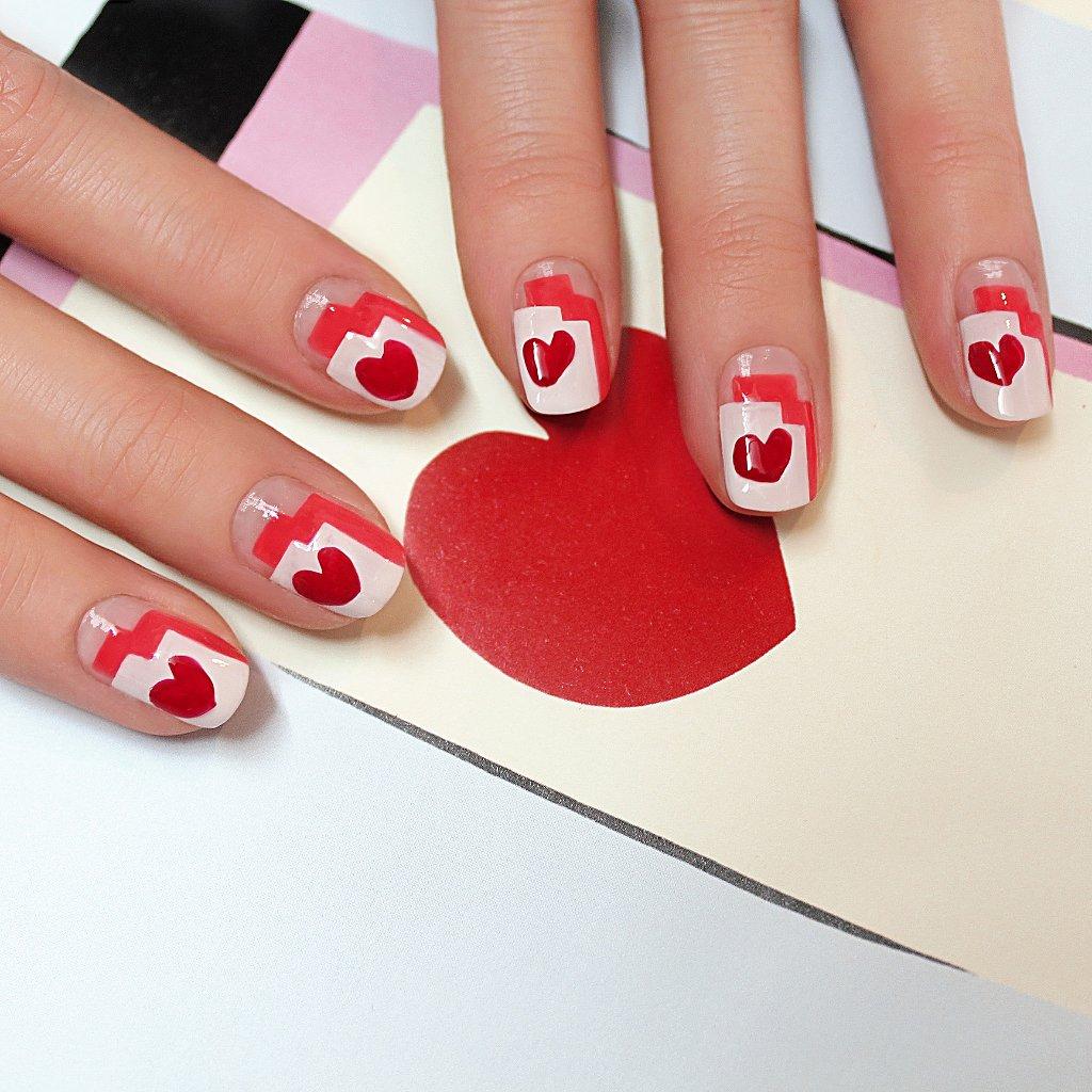 Heart Nail Art: Graphic Heart Nail Art Tutorial