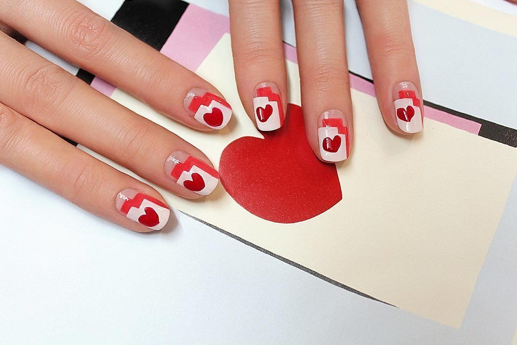 This graphic heart nail art DIY looks impressive and is surprisingly easy to re-create at home.