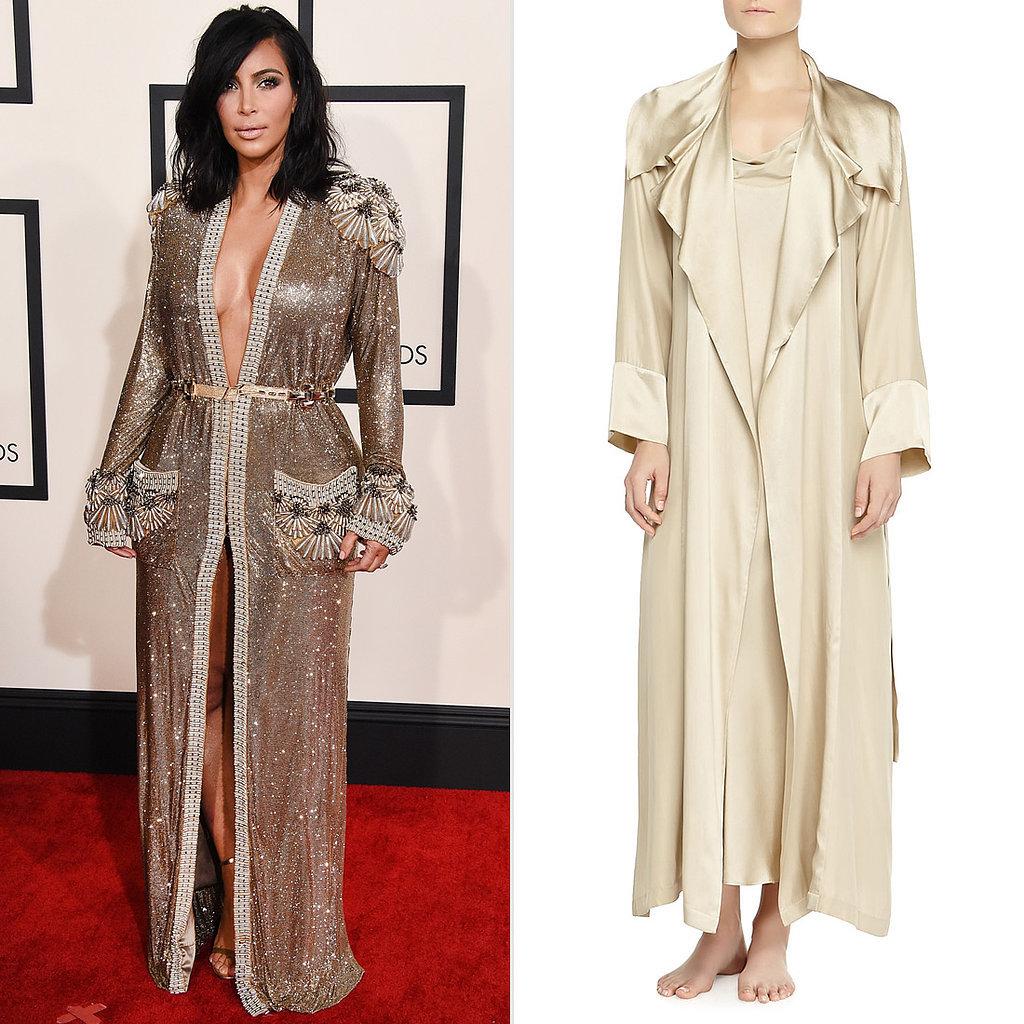 Kim Kardashian Robe Dress at the Grammys | POPSUGAR Fashion