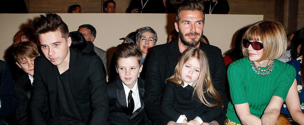 Harper Beckham Has the Best Seat at Fashion Week: Her Dad's Lap!