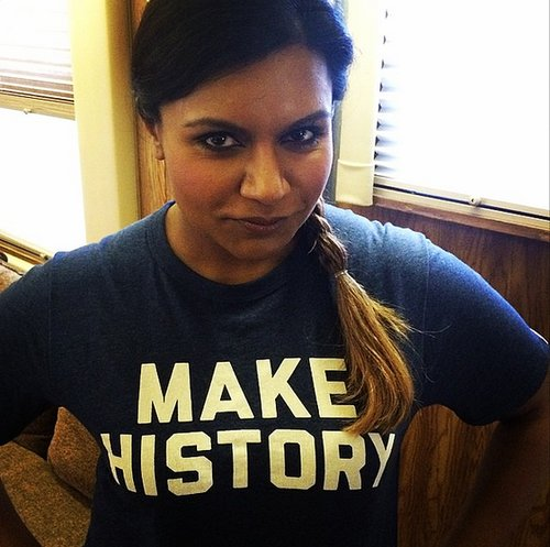 """The Mindy Project's Mindy Kaling is """"up and at 'em"""" in her Under Armour shirt."""