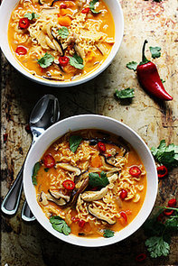 Spicy Butternut Squash Ramen With Chicken and Mushrooms