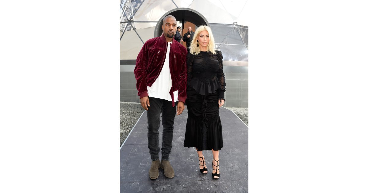 kanye west and kim kardashian arrived at the louis vuitton