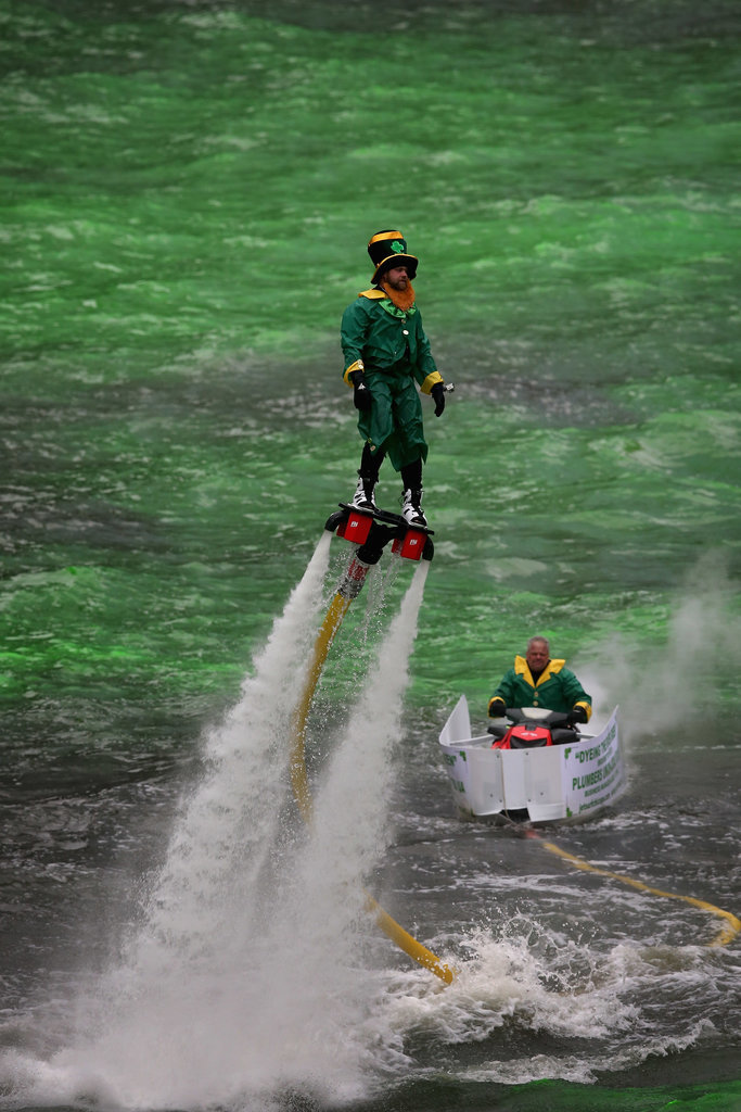 There might just be a leprechaun jetting over the water like Iron Man.