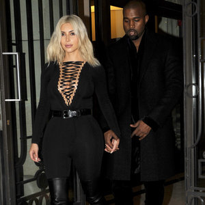 Kanye West Wears Velvet Heeled Boots to Paris Fashion Week
