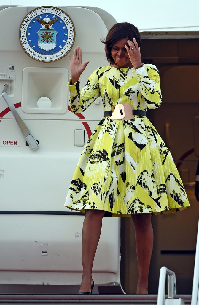 Michelle Arrived in Tokyo Wearing a Fall 2014 Kenzo Dress