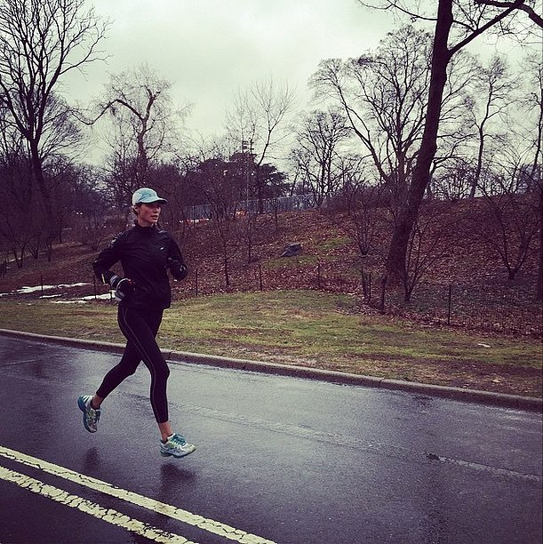 Rain didn't stop Christy Turlington from getting in a run.
