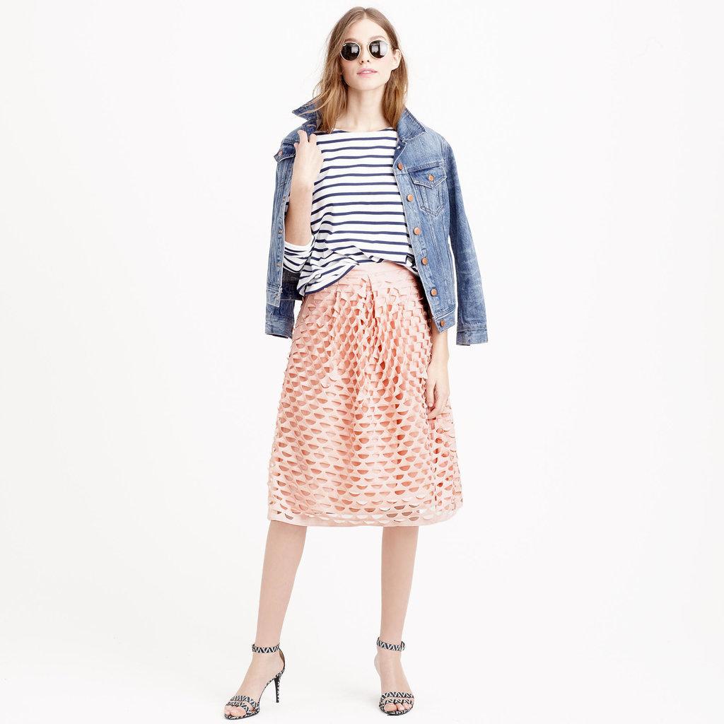 J.Crew Laser-Cut Midi Circle Skirt