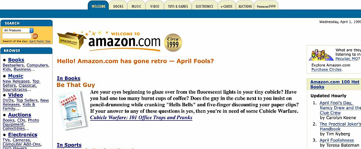 Amazon Reminds You What It Looked Like in 1999