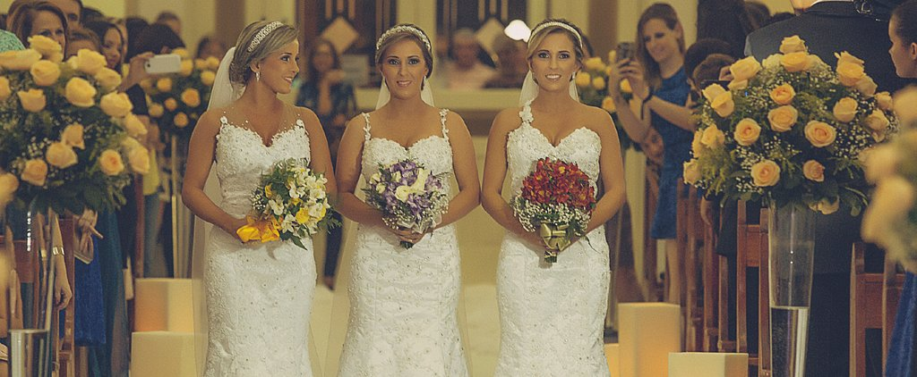Identical Triplets Get Married at the Same Time — Wearing the Same Dress!