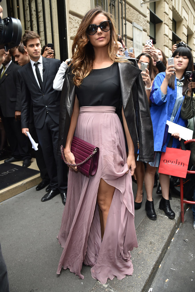 Nina amped up her purple Elie Saab maxi skirt with a cool leather jacket during Paris Haute Couture Fashion Week in July 2014.