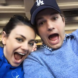Mila Kunis and Ashton Kutcher Photobomb Friends at Baseball