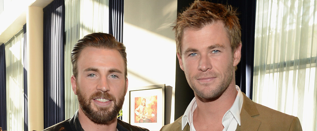 Chris Evans and Chris Hemsworth Show Off Their Beautiful Baby Blues