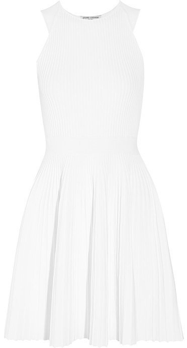 Opening Ceremony Pleated Ribbed-Knit Mini Dress ($495)