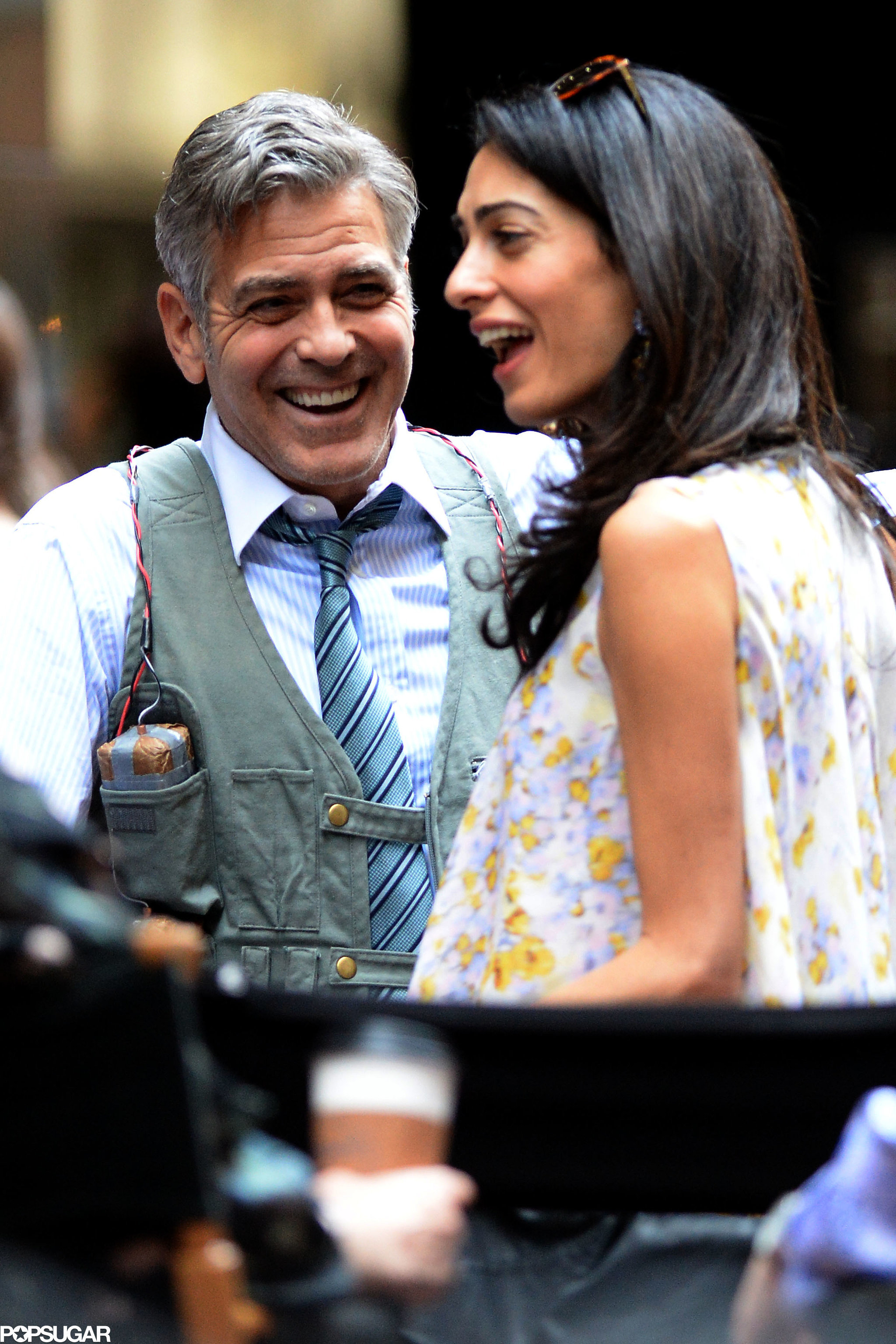 George Clooney on location: Money Monster NYC April 18, 2015 Amal-Alamuddin-Visits-George-Clooney-Money-Monster-Set