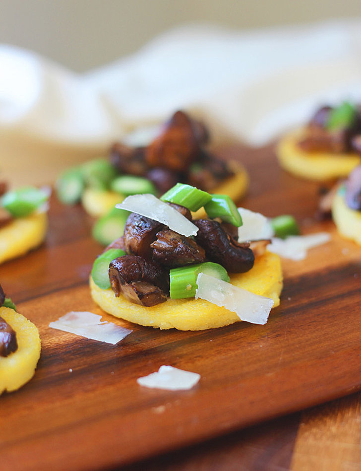 Polenta Bites With Sherried Mushrooms, Asparagus, and Parmesan