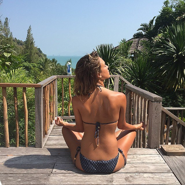 She shared a photo of herself meditating in a bikini during a sunny day in January 2015.