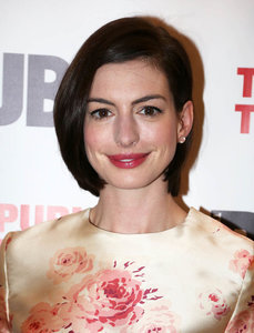 Anne Hathaway at opening night of Grounded supported by Hugh Jackman, Russell Crowe, and Samantha Barks