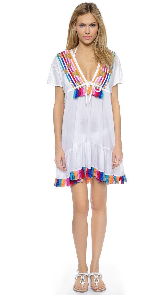 Shoshanna Rainbow Fringe Embellishment Peasant Dress ($285)