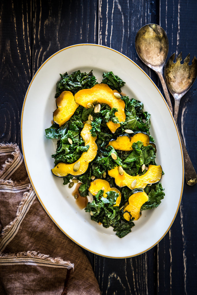 Warm Kale and Acorn Squash Salad