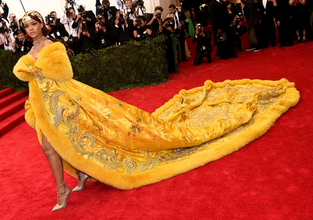 Rihanna Gets All the Stares, and All the Stairs, in Her Major Met Gala Gown