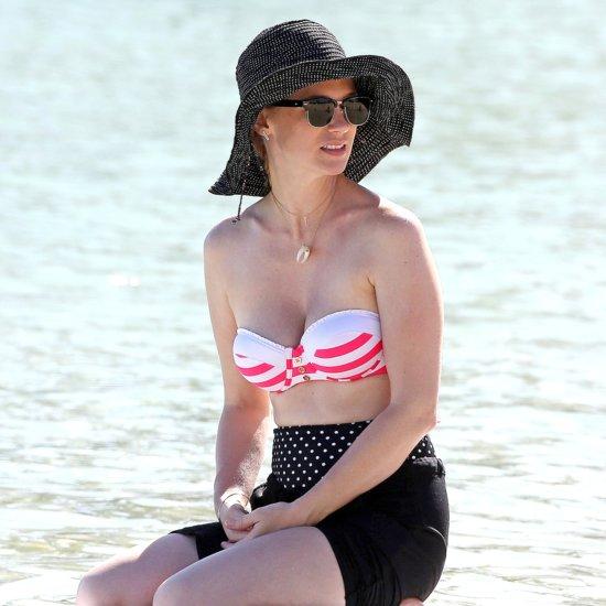 January Jones Wearing a Bikini Top in Hawaii   Pictures