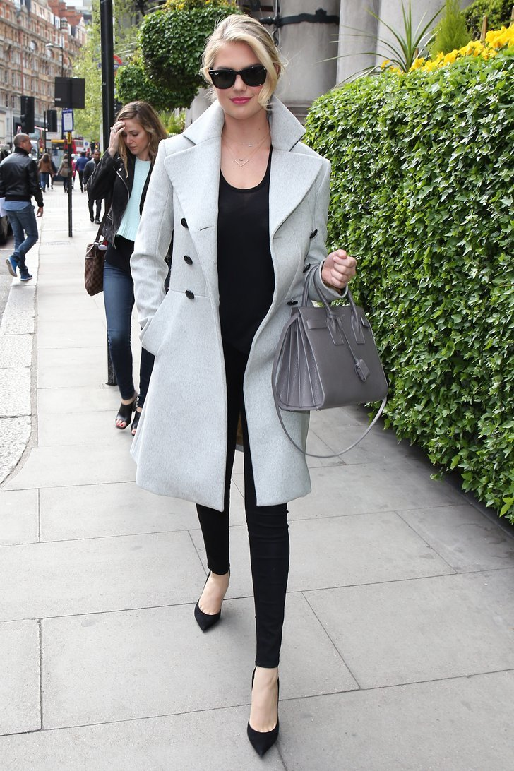 Kate Upton Let Her Gray Coat Do The Talking By Wearing All Black Prep Your Pinterest Board