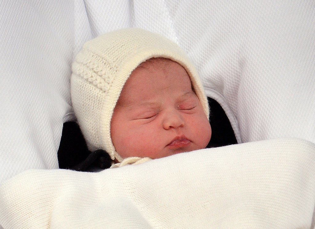 Princess Charlotte was quietly sleeping as the world got their first glimpse of the new royal baby.