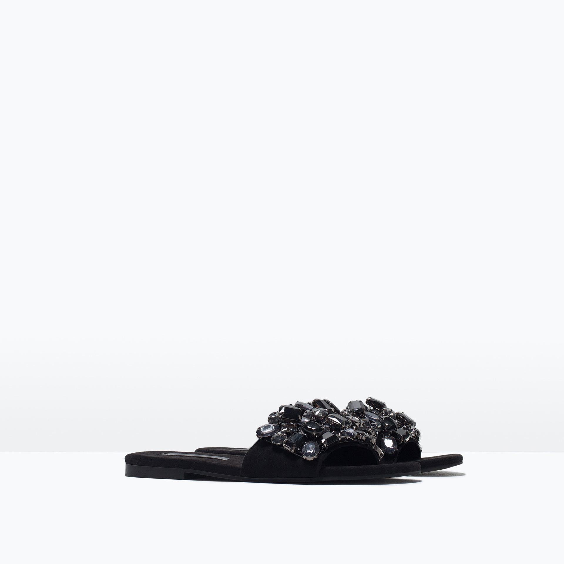 Zara Jeweled Slides