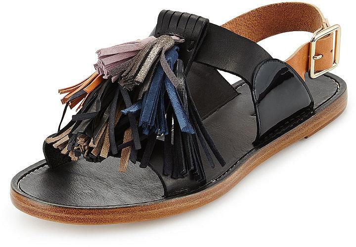Isabel Marant Flat Leather Pompom Sandals