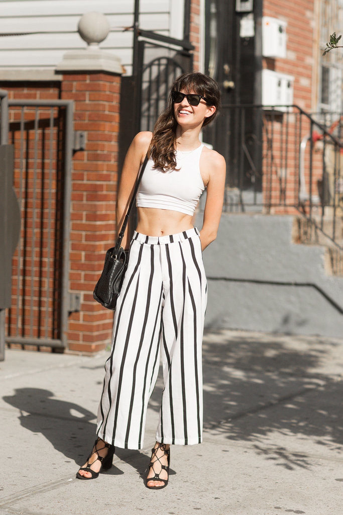 Skip the matching set and pair a crop top with high-waisted pants for a cool Spin on the hot-weather style.