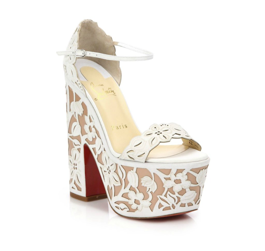 Christian Louboutin Houghton Lace-Effect Leather Platform Sandals