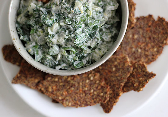 Watercress Spinach Dip With Flaxseed Crackers