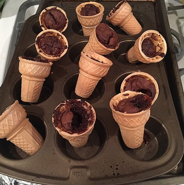 When you think making brownie cones would be easy, and then they turn out like this.