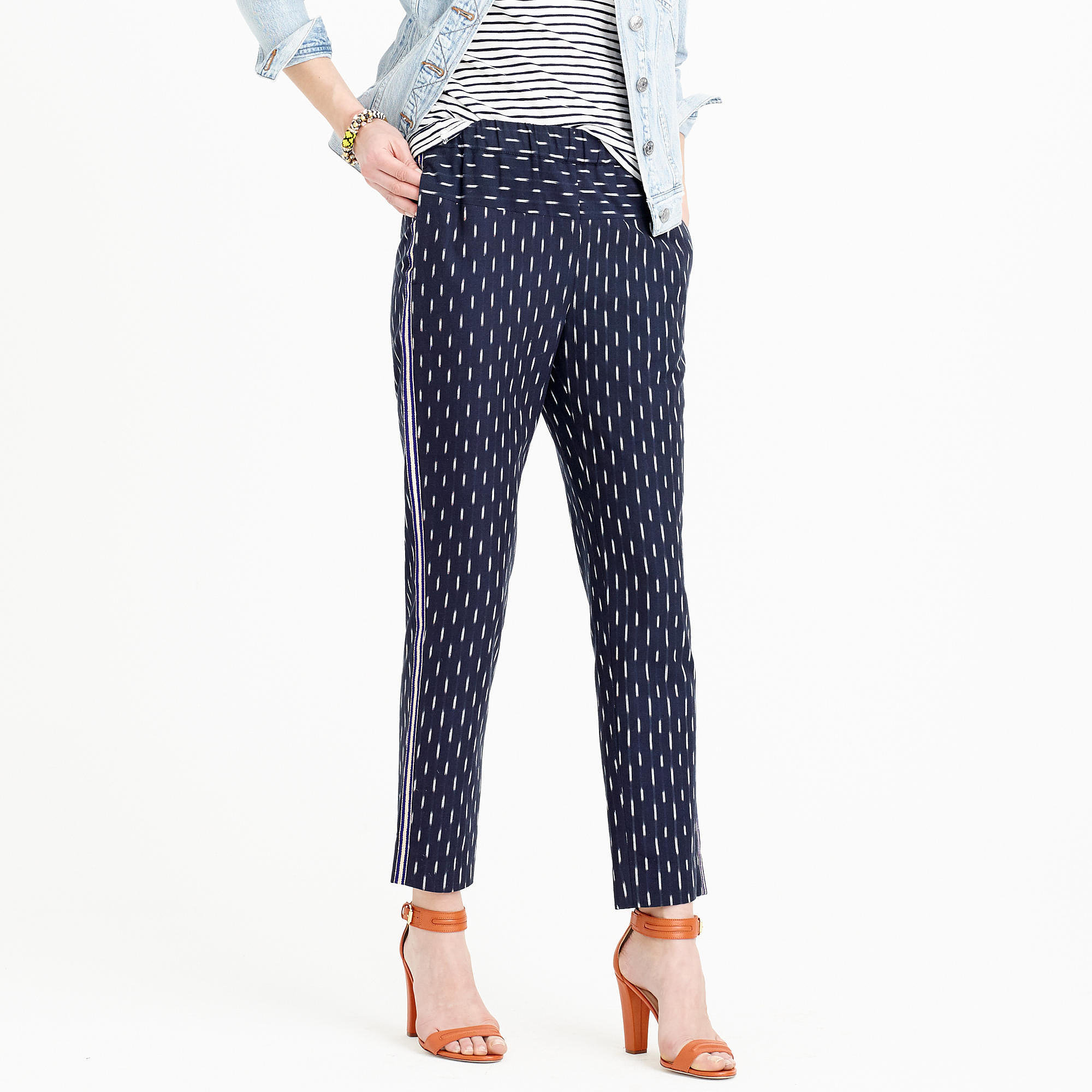 J.Crew Pull-on ikat pant with metallic tux stripes ($98)