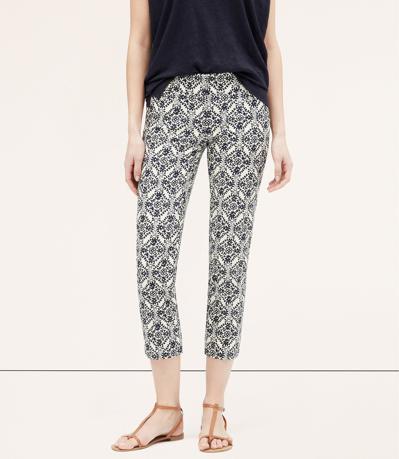 LOFT Mosaic Basketweave Cotton Riviera Pants ($70)