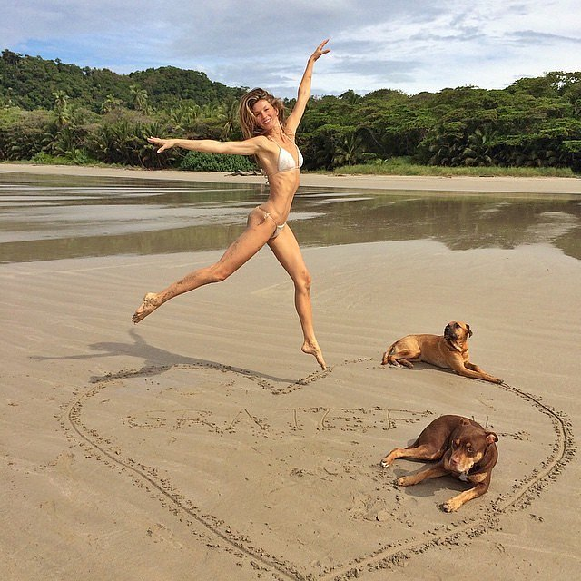 She jumped for joy in her bikini during a March 2015 trip.