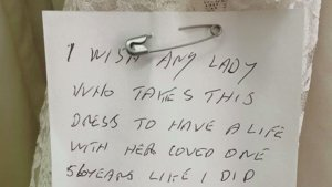 The Beautiful Story Behind This Handwritten Note on a Wedding Dress