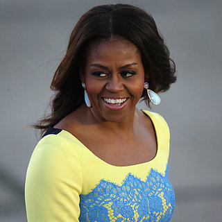 Michelle Obama Wearing Blue and Yellow Lace Dress