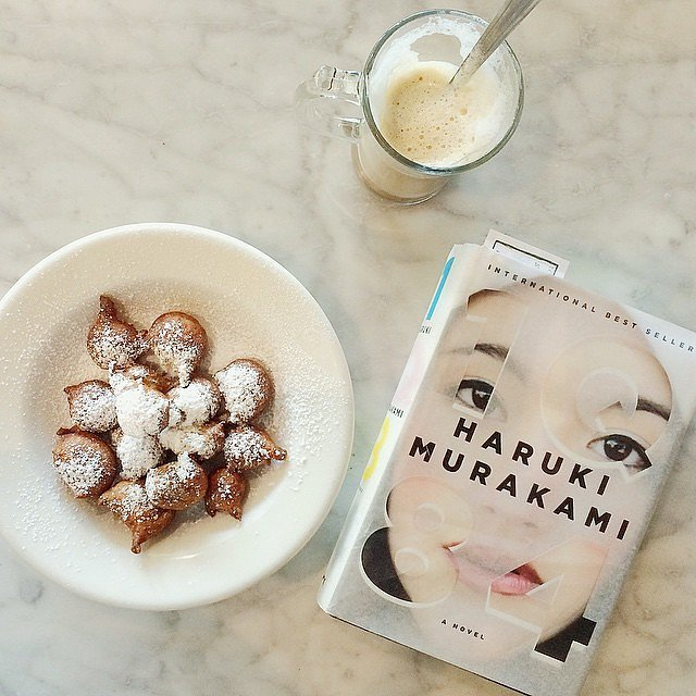 """""""Took myself out on a fresh banana beignet and Murakami date this morning."""""""