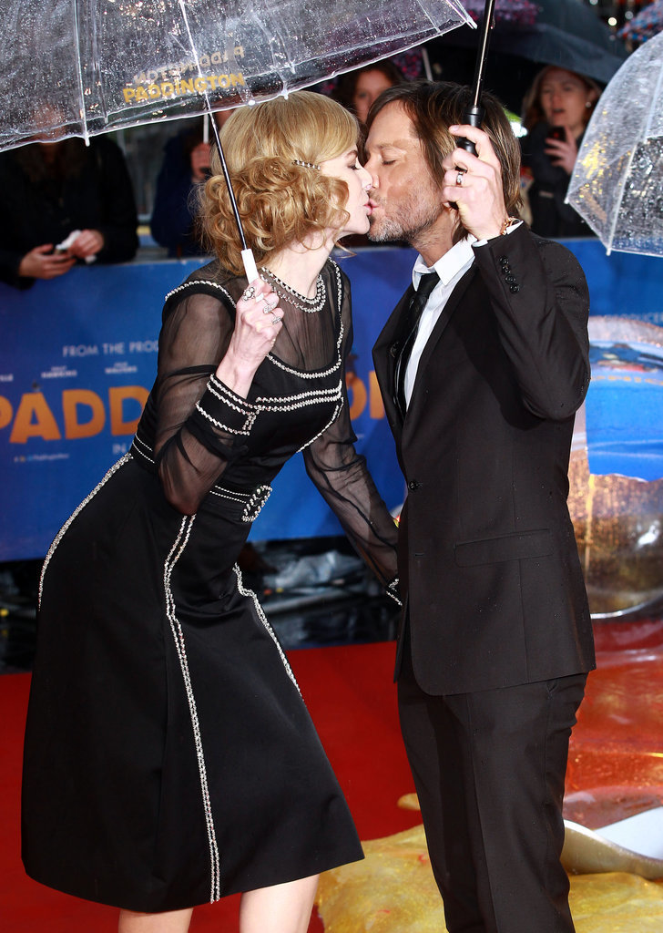 They kissed in the rain at the London premiere of Paddington in November 2014.
